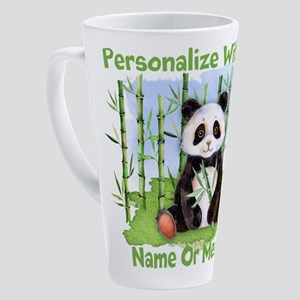 PERSONALIZED Panda With Bamboo 17 oz Latte Mug