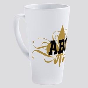 CUSTOM TEXT Fleur De Lis 17 oz Latte Mug