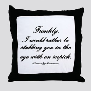 Icepick/white Throw Pillow