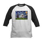 Starry Night English Bulldog Kids Baseball Jersey