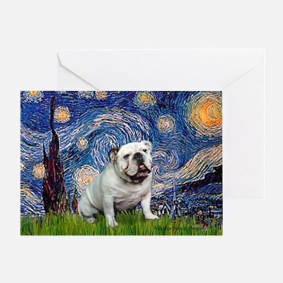 Starry Night English Bulldog Greeting Card