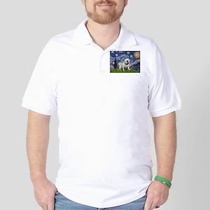 Starry Night English Bulldog Golf Shirt