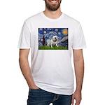 Starry Night English Bulldog Fitted T-Shirt