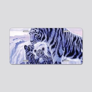 White Tigress And Her Cubs Aluminum License Plate