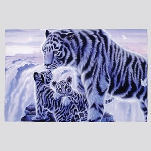 White Tigress And Her Cubs 4' x 6' Rug