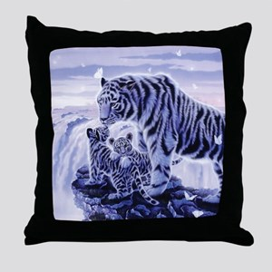 White Tigress And Her Cubs Throw Pillow