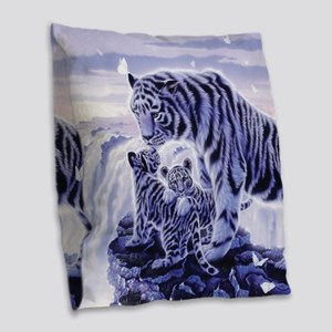 White Tigress And Her Cubs Burlap Throw Pillow