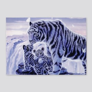 White Tigress And Her Cubs 5'x7'Area Rug