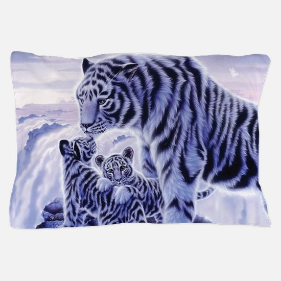 White Tigress And Her Cubs Pillow Case