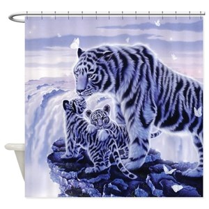 White Cubs Shower Curtains