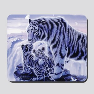 White Tigress And Her Cubs Mousepad