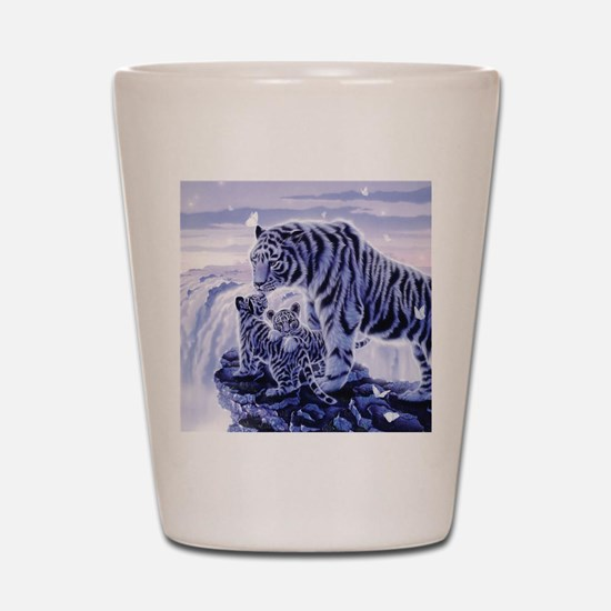 White Tigress And Her Cubs Shot Glass