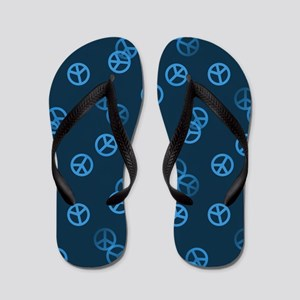 Blue Peace Sign Pattern Flip Flops