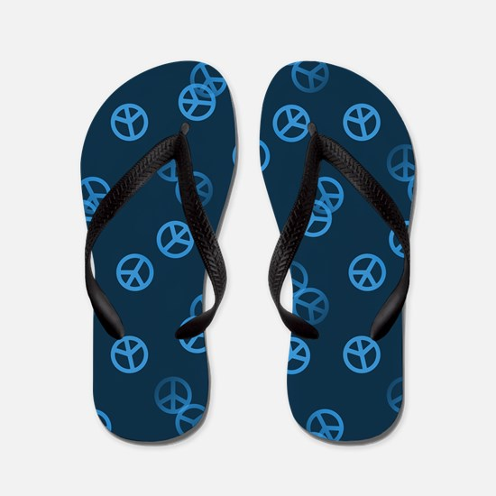 Blue Peace Sign Pattern Flip Flops