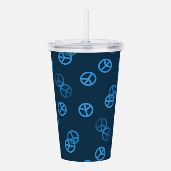 Blue Peace Sign Patter Acrylic Double-wall Tumbler