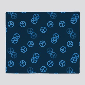 Blue Peace Sign Pattern Throw Blanket