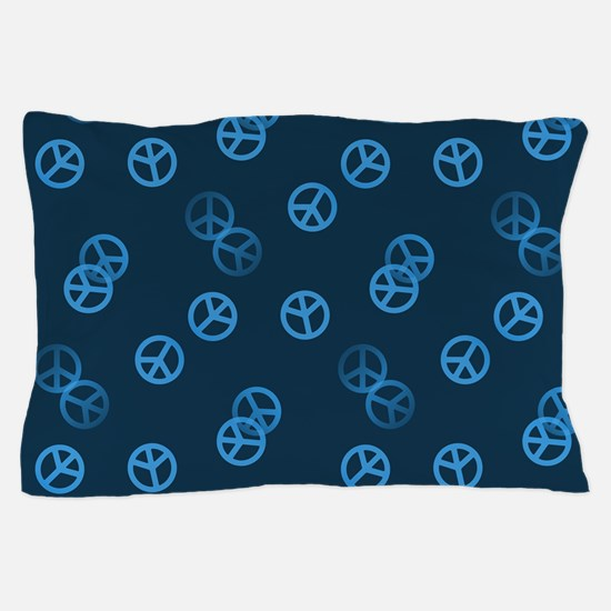 Blue Peace Sign Pattern Pillow Case