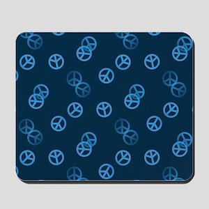 Blue Peace Sign Pattern Mousepad