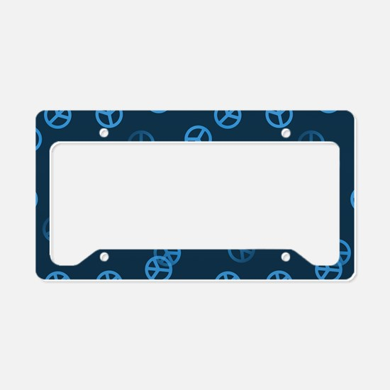Blue Peace Sign Pattern License Plate Holder