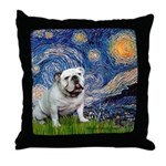 Starry Night English Bulldog Throw Pillow