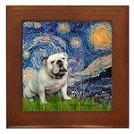 Starry Night English Bulldog Framed Tile
