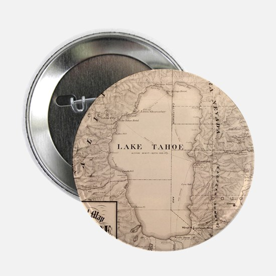 """Vintage Map of Lake Tahoe Calfornia ( 2.25"""" Button"""