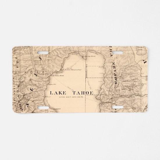 Vintage Map of Lake Tahoe C Aluminum License Plate
