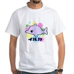 White T-Shirt - Dolphin Bubbles