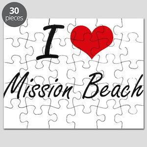 I love Mission Beach California artistic d Puzzle