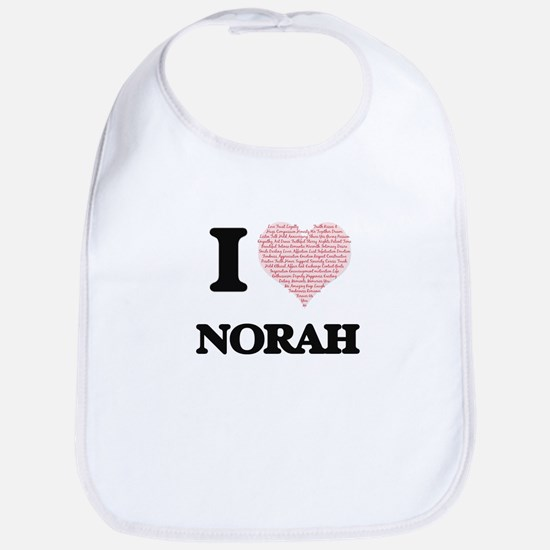 I love Norah (heart made from words) design Bib