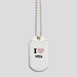 I love Nya (heart made from words) design Dog Tags