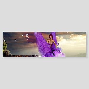 Wonderful fairy with bird in the night Bumper Stic