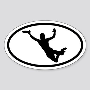 Flying Frisbee Catch Oval Sticker