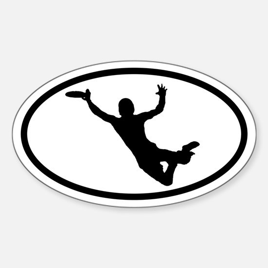Flying Frisbee Catch Oval Bumper Stickers