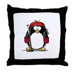 Red Hockey Penguin Throw Pillow