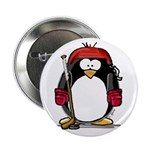 Red Hockey Penguin Button