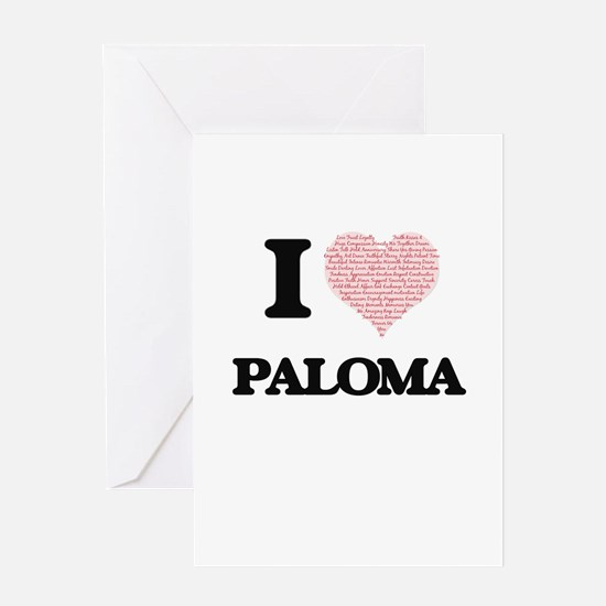 I love Paloma (heart made from word Greeting Cards