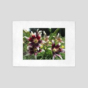 Burgundy Creme Asiatic Lilies 5'x7'Area Rug