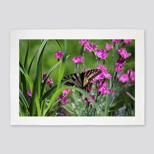 Swallowtail on Pink Dianthus 5'x7'Area Rug