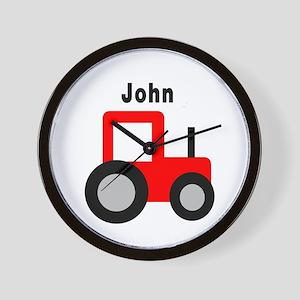 John - Red Tractor Wall Clock
