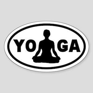 Yoga Lotus Oval Sticker