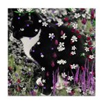 Freckles the Tux Kitty in Flowers I Tile Coaster