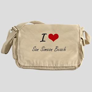 I love San Simeon Beach California Messenger Bag
