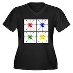 Tonewheels Women's Plus Size V-Neck Dark T-Shirt