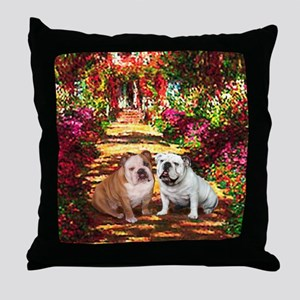 The Path / Two English Bulldogs Throw Pillow