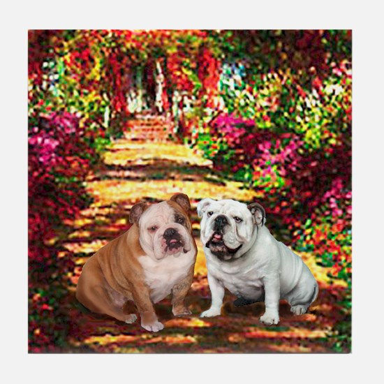 The Path / Two English Bulldogs Tile Coaster