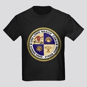 USS Long Beach CGN 9 Kids Dark T-Shirt