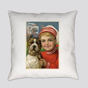 Vintage Boy & Pit Bull Dog Everyday Pillow