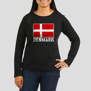 Flag of Denmark Women's Long Sleeve Dark T-Shirt