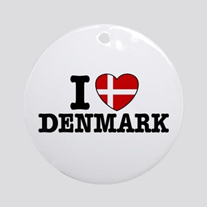 I Love Denmark Ornament (Round)